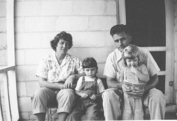 Aunt Marge on furlo from the Army, me Dad and Michelle, Brunswick GA, 1946