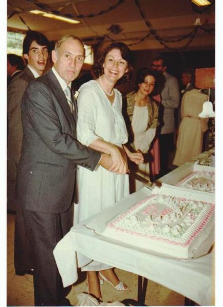 Cutting our cake 32 years ago.