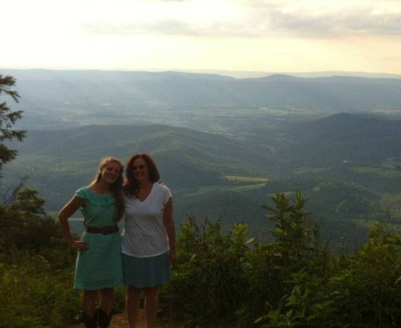Granddaughter Joy and Daughter Connie on their way South through the Great Valley of Virginia, taking Joy to college.