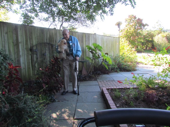 David with his cane framed by my rollator handle.