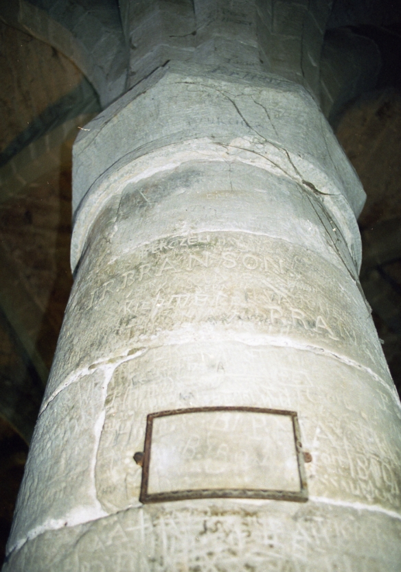 Lord Byron's name carved into a column.