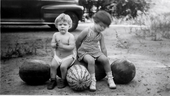 Watermelons, South Carolina, 1945.  Dad said the big one weighed 75 pounds.