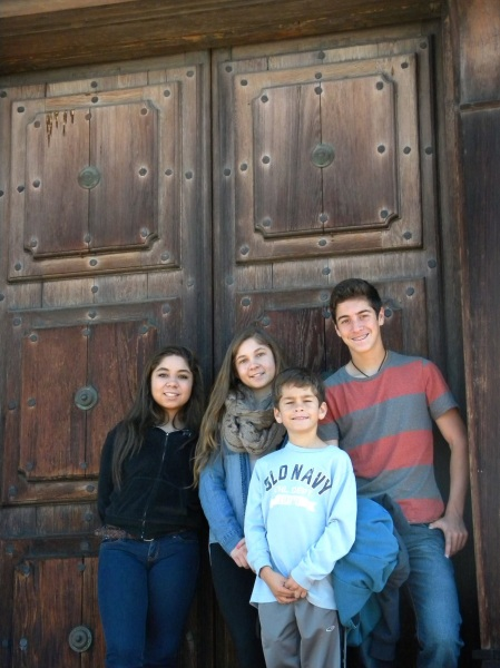 Jacob ans sean with cousins at a Spanish Mission in Northen CA