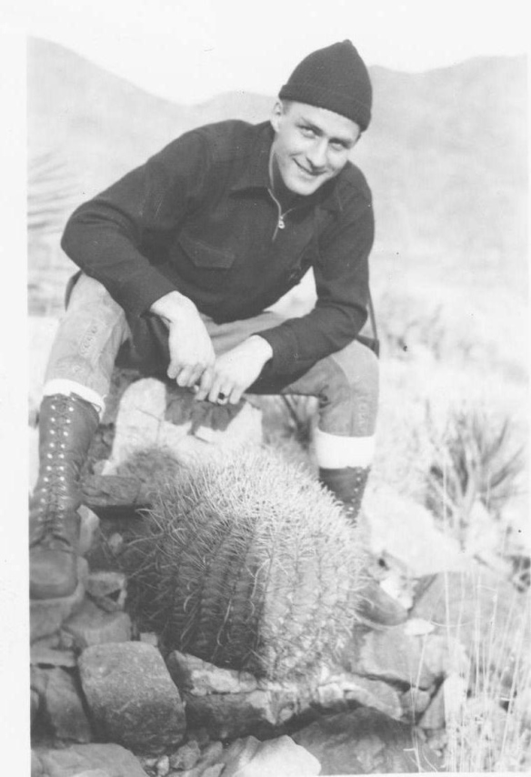 Dad with a barrel cactus. New Mexico, 1941.