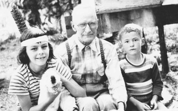 Michael and me with Grandpa Schmidley, 1950