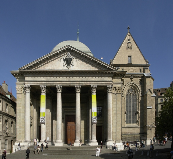 Where John Calvin preached in Geneva, Wiki.  I visited this church in 1999 when I was in Geneva.