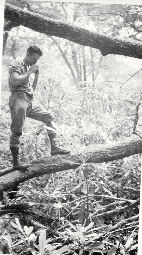 Lunch break. Dad in  his lumber jack days, South Carolina in 1939