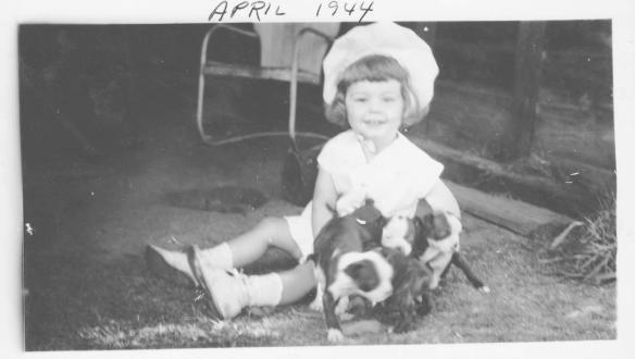 Me with my first dog, Patsy, Texas 1943