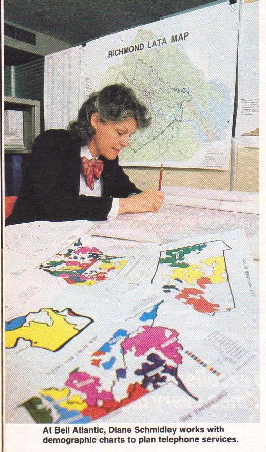 Working for bell, drawing maps, Photo appeared in the Nation's business in 1986