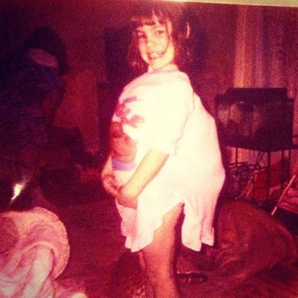 Rita, pretending to be pregnant, 1985