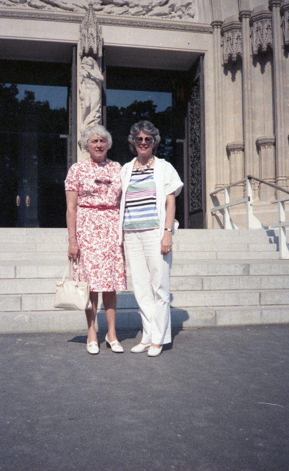 Aunt Marge and me before the Basilica of the Shrine of the Immaculate Conception, Washington D.C., mid 1980s.